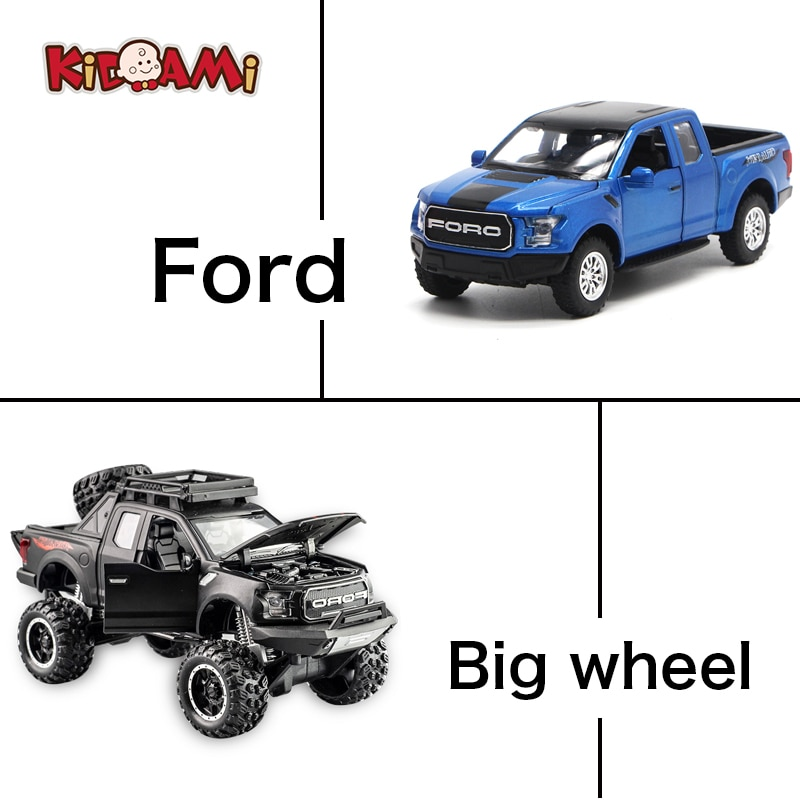 1 32 mini alloy pickup truck ford raptor f150 pick up alloy model toy car for sound and light and sliding car KIDAMI 1:32 Car Model Suit Raptor F150 Big Wheel Alloy Diecast Model Car Toys For Children's Day Gifts,Sound And Light