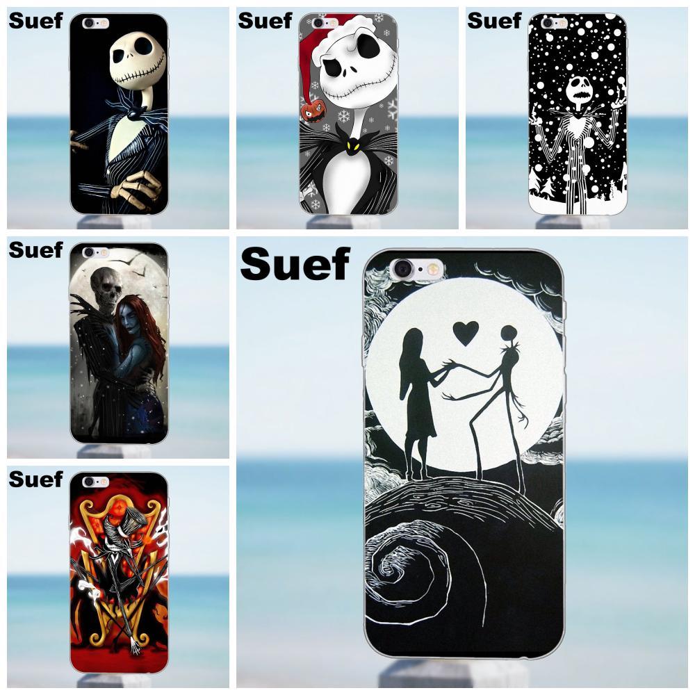 Jack esqueleto y Sally frases románticas para iPhone 4X4 4S 5 5S 5C SE 6 6S 7 8 Plus Galaxy J1 J3 J5 J7 A3 A5 2016 2017 funda de móvil TPU