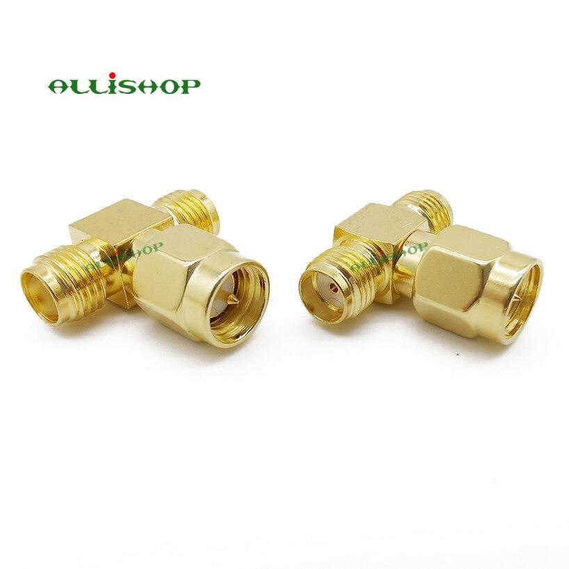 ALLiSHOP SMA Male to Two SMA Female Triple T RF Adapter Connector 3 Way SMA Male to Dual SMA Female Splitter SMA Antenna Convert