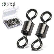 DONQL 50/100 pièces roulement pivotant connecteur de pêche 1 #-14 # baril roulant anneaux solides pour hameçon leurre lien accessoires de pêche