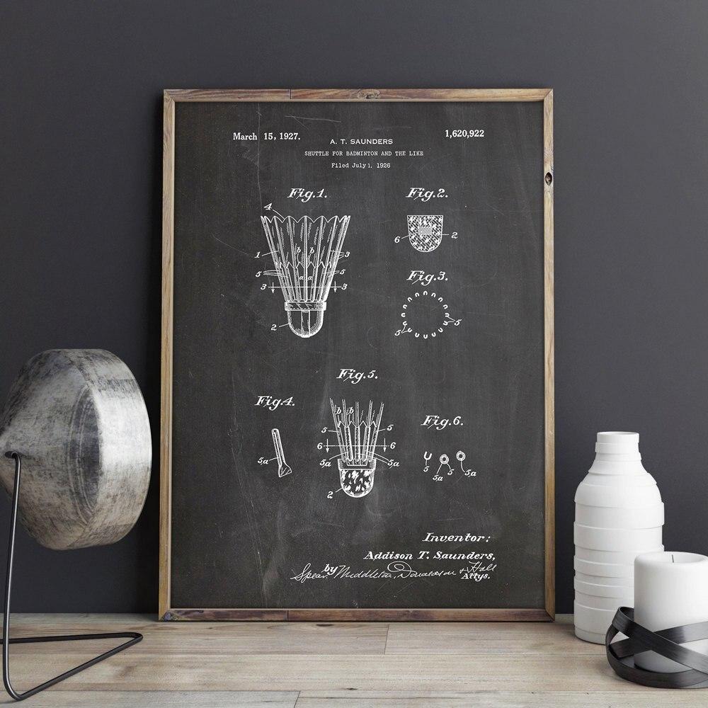 Badminton Shuttle patent, Badminton wall art , posters, room decor,vintage print,blueprint, gift idea, Sports wall Decorations
