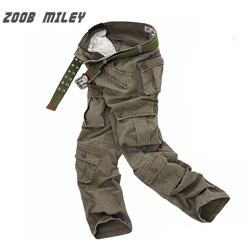 Zoob مايلي الجيش السراويل الرجال فضفاض البضائع السراويل العسكرية وزرة السراويل سببية فضفاضة تناسب الباب الخارجي (لا الحزام) زائد الحجم 28-40