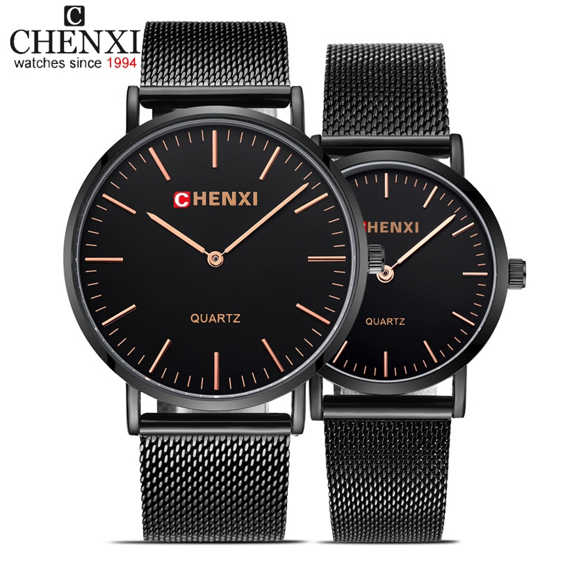 CHENXI-ساعة كوارتز رفيعة للرجال والنساء ، مجموعة ساعات يد بسيطة وعصرية ، علامة تجارية للأزواج