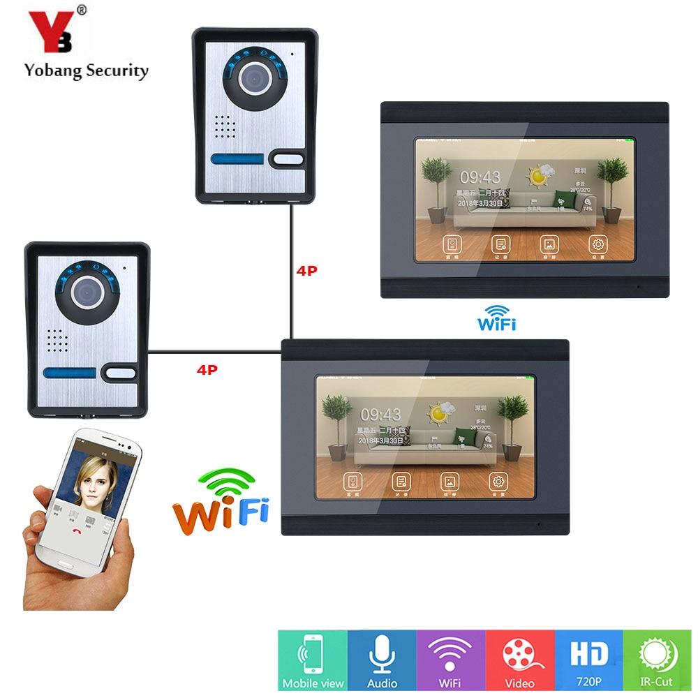 YobangSecurity APP Control Video Intercom 7 Inch Monitor Wifi Wireless Video Door Phone Doorbell KIT SD Card 2 Camera 2 Monitor