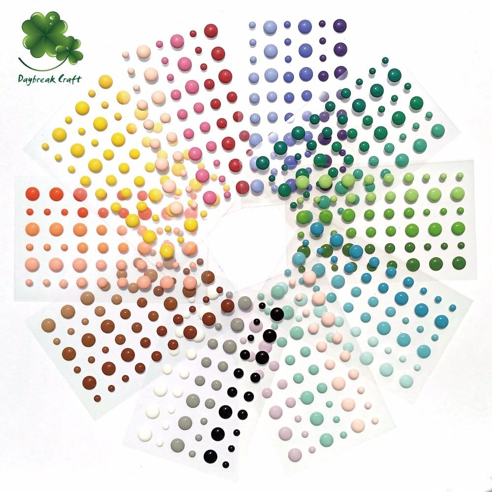 (50 unids/lote) esmalte de puntos autoadhesivo pegatinas para álbumes de recortes embellecedores