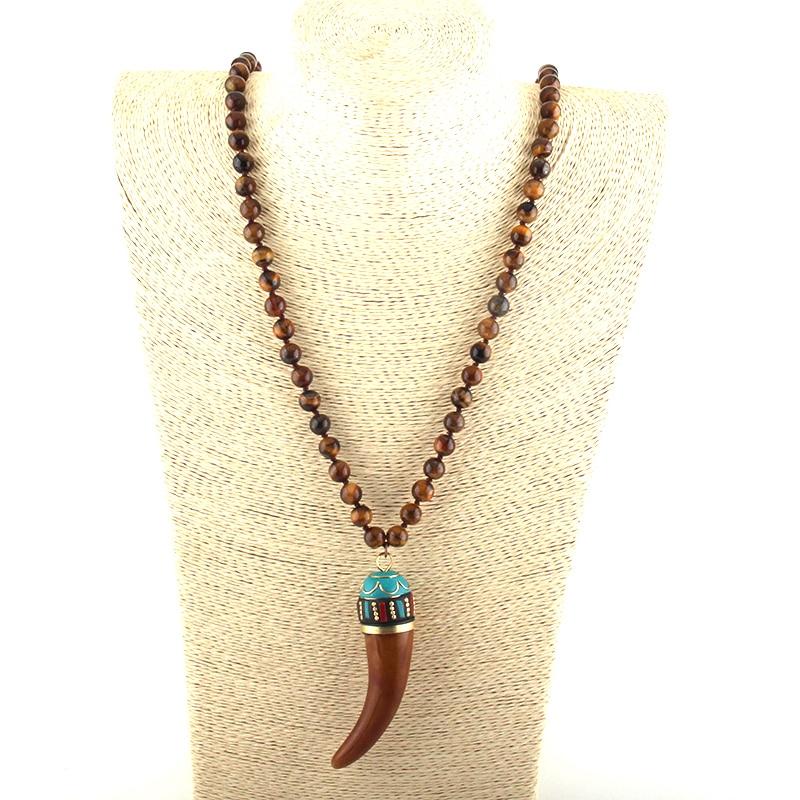 MOODPC, joyería Tribal Bohemia a la moda, piedras marrones Largo anudado, collares de Colgante de cuerno de buey marrón, collar étnico para mujer