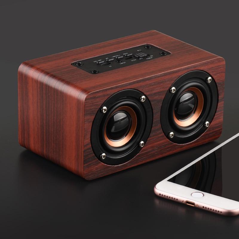Altavoz de madera inalámbrico por Bluetooth, barra de sonido HiFi portátil de sonidos graves, para iPhone, Samsung, Xiaomi