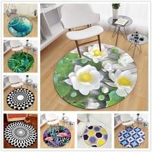 140cm Diameter 3D Lotus Round Carpet For Living Room Parlor Bedroom Chair Rugs Classic Home Decoration Non-slip Toilet Bath Mat