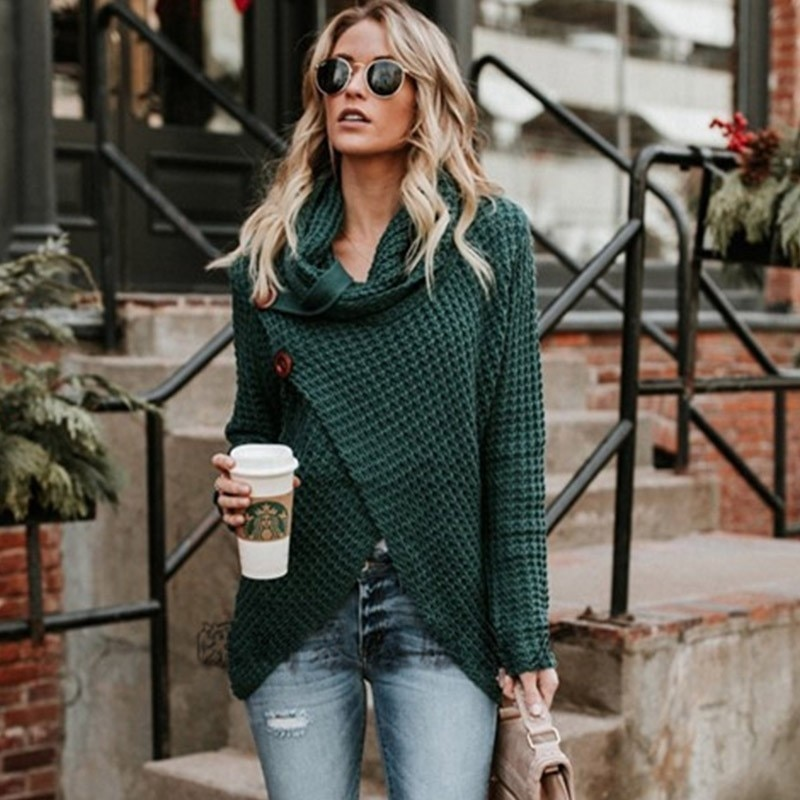 AliExpress - Gentillove Women Autumn Winter Turtleneck Knitted Sweater Casual Long Sleeve Pullover Vintage Button Jumper Tops Plus Size 3XL