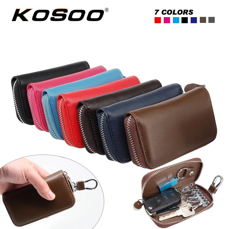 KOSOO Multifunctional Zipper Man&Woman Genuine Leather Waist Hanging Purse Car Key Wallets For Hyundai For Chery For Skoda Fabia