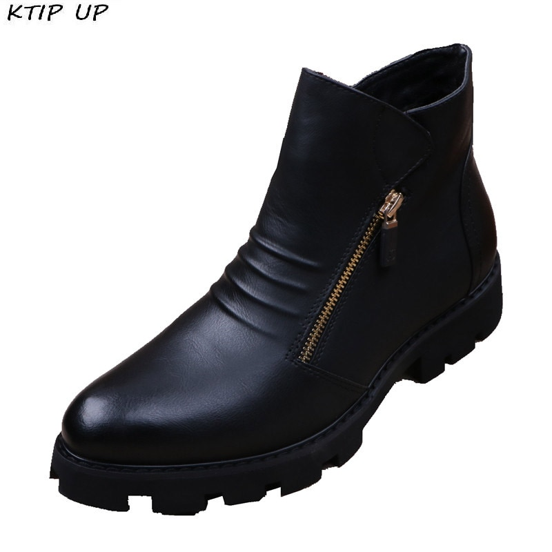 Botines de piel Chelsea de marca para Hombre, Botas de piel de moda para Hombre, Botas deslizantes para Hombre motociclista, Botas cálidas para Hombre, zapatos de trabajo