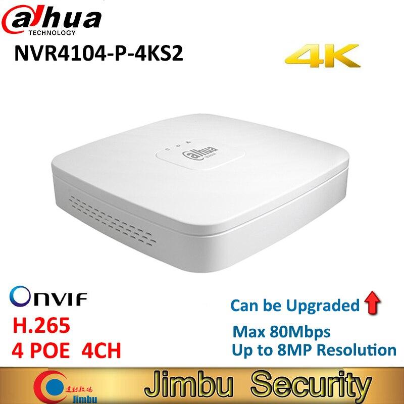 Dahua mini 4K NVR grabadora de vídeo NVR4104-P-4KS2 4Ch Smart 1U 4 puertos PoE red H.265 HD hasta 4TB 8MP NVR reemplazar NVR4104-P