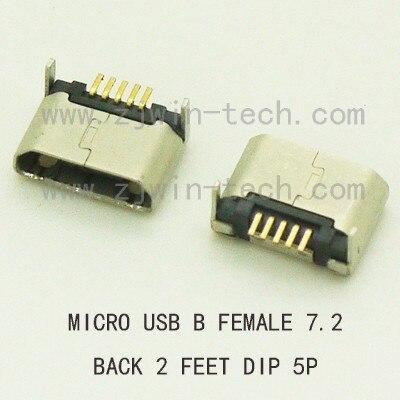 بكرة التعبئة 1000 قطعة/الوحدة مايكرو USB Btype المقبس الإناث USB 2.0 موصل 5pin عودة 2 أقدام DIP