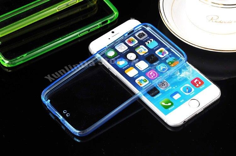 100 pcs lote fino 2 em 1 colorido transparente caso claro de tpu para iphone 6 47