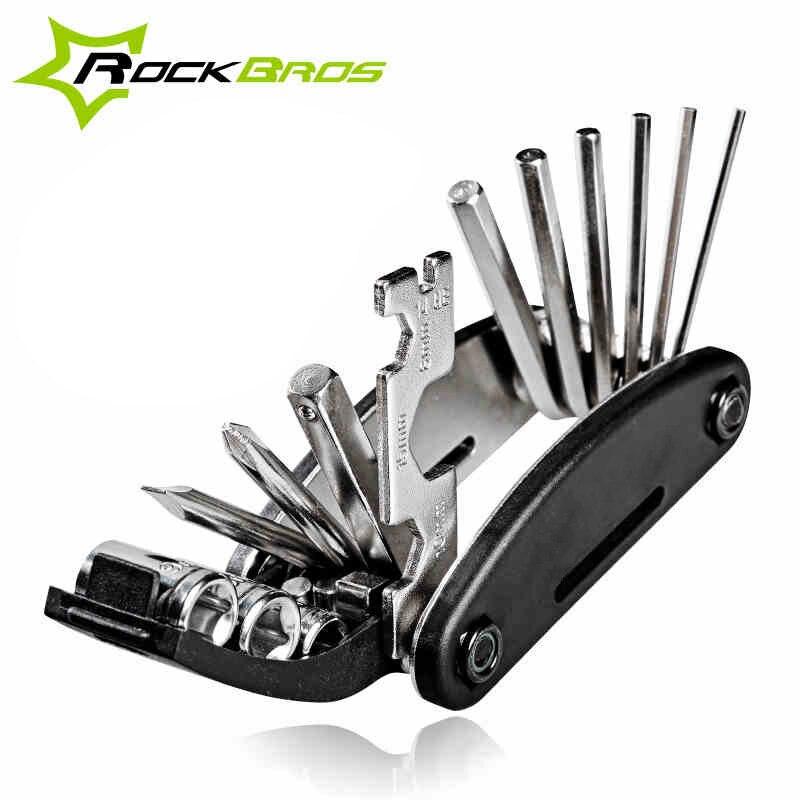 Rockbros-Juego de herramientas de reparación, conjunto de herramientas de reparación múltiple 16 en 1 para bicicleta, destornillador de ciclo hexagonal, llave, juego de herramientas de ciclismo de montaña, negro