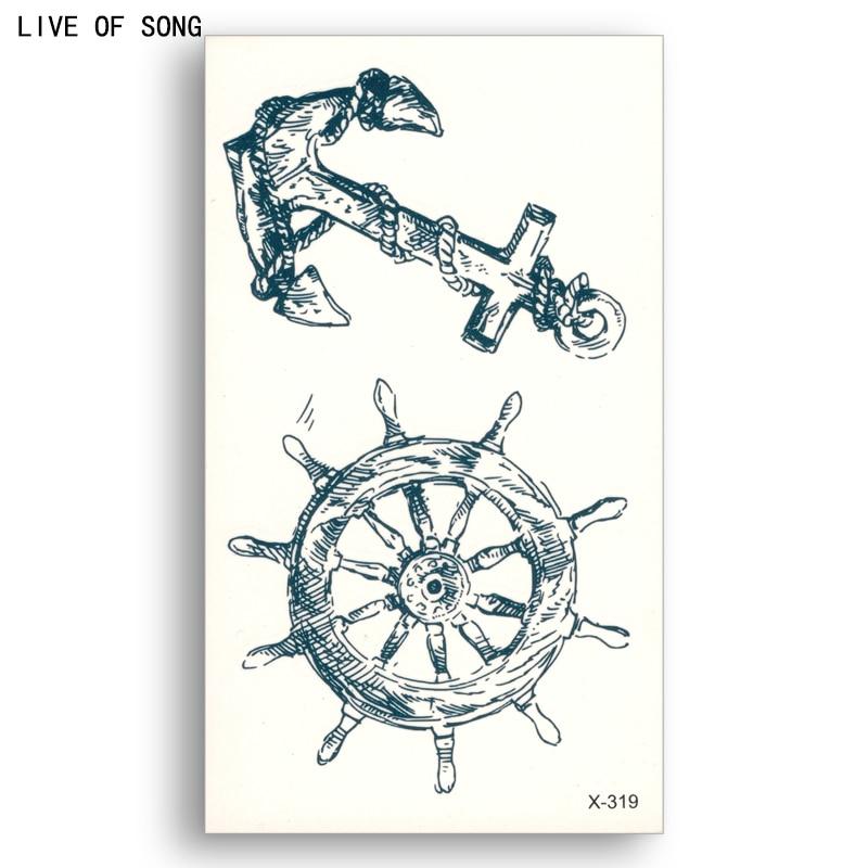 Falso tatuagem temporária Adesivo de Transferência de Água Azul Escuro âncora Leme Homens Mulheres Beleza Legal Arte Corporal Ao Vivo de Música X319