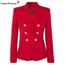 HarleyFashion européenne américaine femmes jolie pochette Double boutonnage haute qualité grande taille rouge Blazers