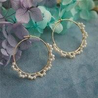 pearl earrings gold filled hoop earrings handmade brincos vintage jewelry not fade mom party gift pendientes earrings oorbellen
