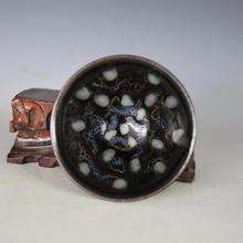 Cuenco de porcelana antiguo de la dinastía SongDynasty, cuenco de perla esmaltado Jian kiln, artesanías pintadas a mano, decoración, Colección y Adorno