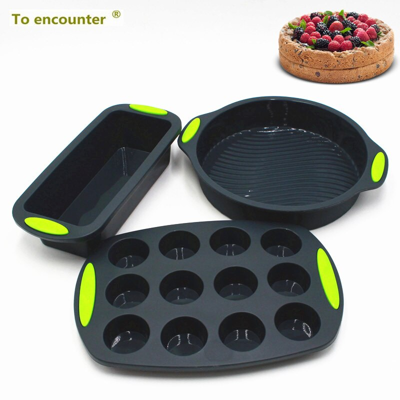 Molde Do Bolo Do Silicone Conjunto DIY Pão Torradas 3 no Pacote Baking Pans Panelas Panelas Muffin de Queque Silicone
