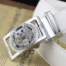 ZAYG ceintures pour hommes de luxe marque de créateur en cuir véritable ceinture blanc diamant loup ceinture pour homme automatique boucle jean animal le