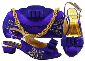 Latest violet color medium heel evening party shoes and purse bag sets nice matching for evening dress MM1080