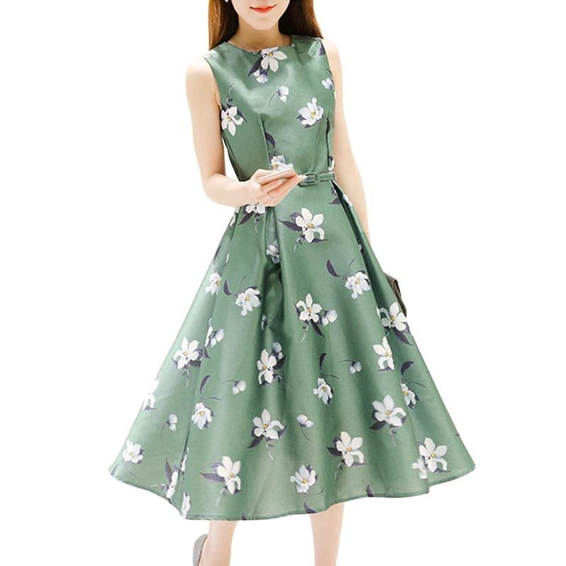 Verano elegante estampado Floral de alta cintura Vintage sin mangas Formal vestido de fiesta Vestidos Mujer Retro blanco verde Vestidos