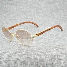 Lunettes de soleil Vintage corne de buffle   Lunettes hommes claires en bois, monture ronde en bois pour lété en plein air, Oculos Gafas