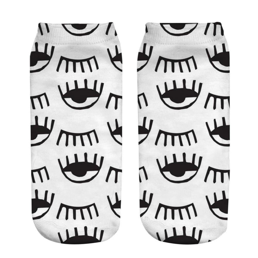 1 par de calcetines 3D 19x8CM 3d Sexy ojos estampados calcetines cortos Primavera Verano calcetín tobilleros de corte bajo Unisex mezcla de algodón calcetines de poliéster