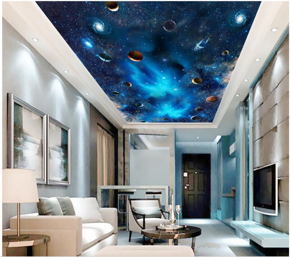 Wdbh personalizado 3d murais de teto papel parede a via láctea galáxia céu estrelado pintura 3d murais parede para sala estar
