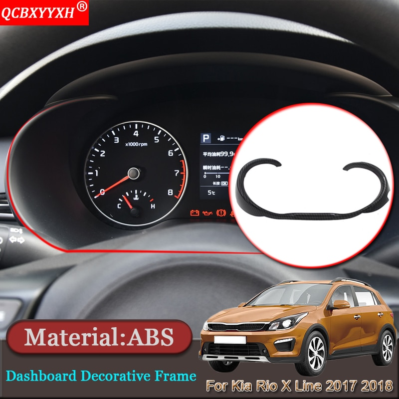 Coche-de estilismo para interior de coche tablero embellecedor protector con marco decorativo Auto pegatinas accesorios para Kia Rio X línea KX Cruz 2017 de 2018