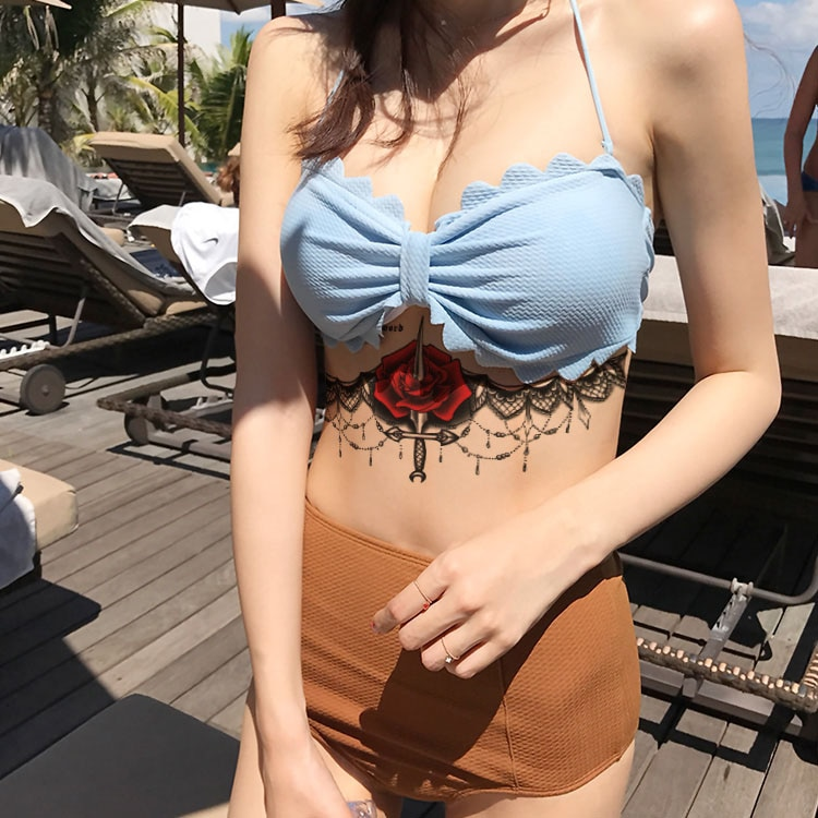 Fashinal clavícula mujeres tatuaje Cuerpo impermeable arte corporal temporal tatuajes pegatinas tatuaje Tribal grande en la cintura del vientre