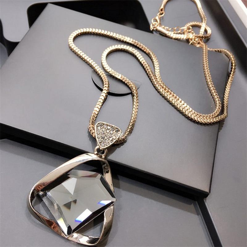 Venta de Geometry Glasses collar con colgante de cadena larga para mujer triángulo Rhinestone Crystal Sweater Necklace Jewelry