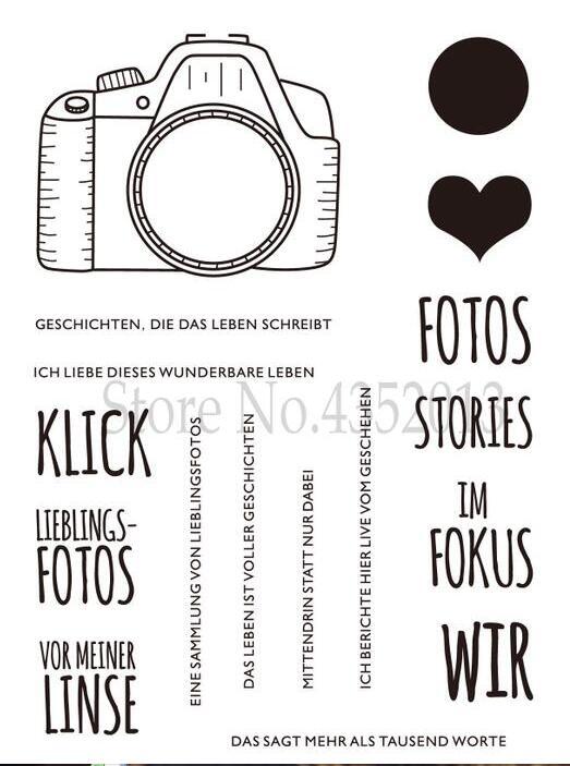Sello de sello de silicona transparente cámara alemana para álbum para recortes de fotos hojas de sellos transparentes decorativas X0302