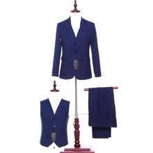 2020 nouveauté bleu Plaid hommes costumes mariage marié Tuxedos pas cher veste + pantalon + gilet hommes vêtements de cérémonie affaires meilleurs hommes costumes