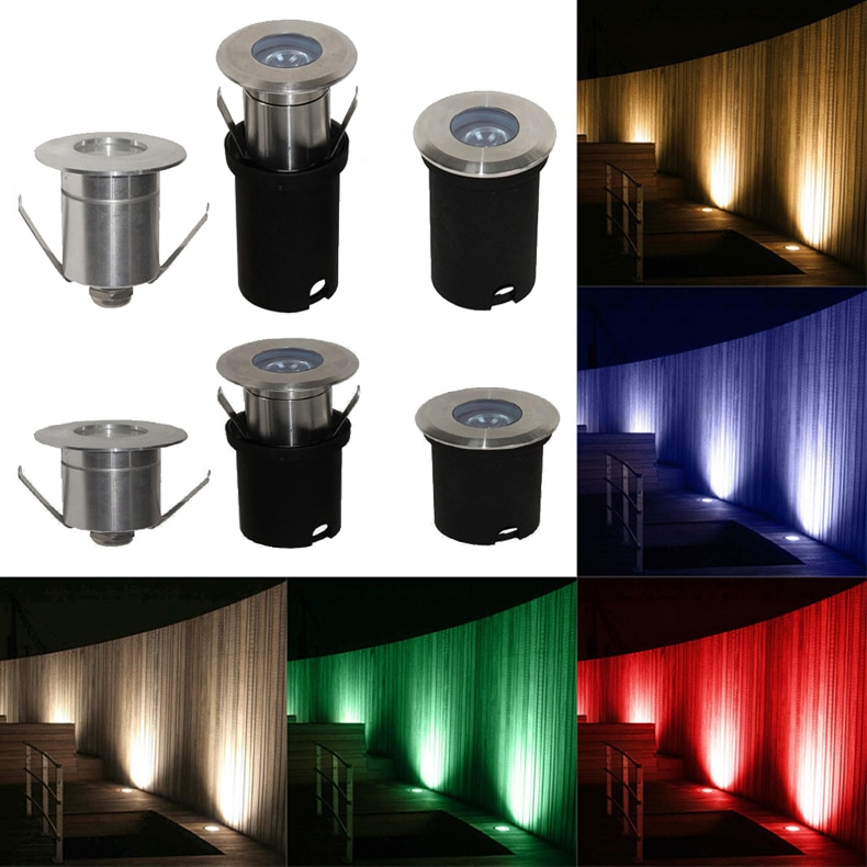 stainless steel 1W 3W 12V 24V IP68 LED Underground Light Lamp Waterproof High-power Tempered Glass Outdoor Garden Mini Landscape