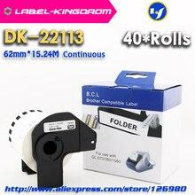 Étiquette de DK-22113 Compatible 40 rouleaux 62mm * 15.24M Compatible continu pour imprimante détiquettes Brother matériau demi Transparent