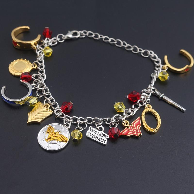 SG Wonder Woman Bracelets Winner W Logo Crown Shield Pentagram Cosplay Lady Girls Crystal Bangles Fashion Superhero Jewelry