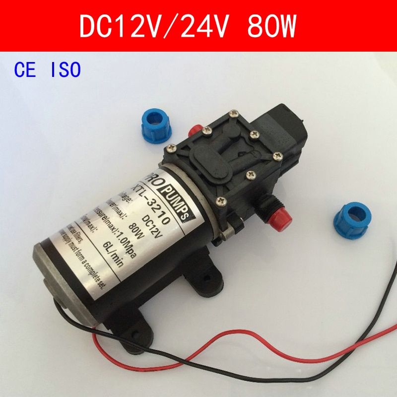 CE ISO Mini bomba de agua eléctrica DC12V 24 V 80 W de alta presión Micro diafragma bomba de agua interruptor automático 6L /min trabajo pesado 3210