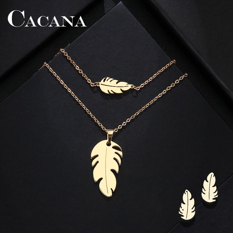 Наборы из нержавеющей стали CACANA для женщин, ожерелье в форме пера, браслет, серьги, украшения для помолвки, S379