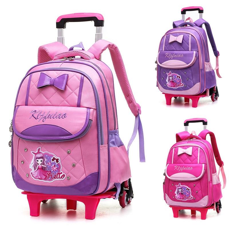 Mochila para niñas princesas, mochilas con ruedas extraíbles con ruedas de 2/6 ruedas, mochilas escolares con carrito de dibujos animados a la moda para niños y niñas, mochilas para libros