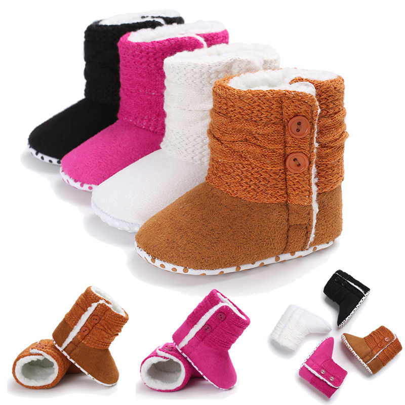 Recién Nacido bebé niños niñas zapatos de nieve invierno suave suela para bebés cuna juguetes de peluche botas 0-18M