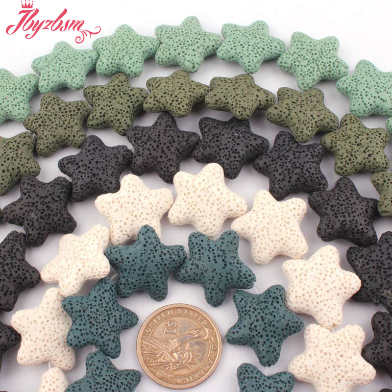 "25mm Natural Star Shape Lava Rock Volcanic Gem Stone Beads Strand 14.5"" For DIY Women Necklace Bracelats Earrings Jewelry Making"