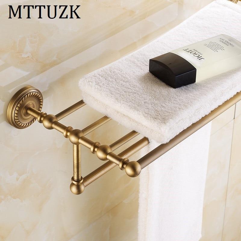 MTTUZK Antique brass Double layers Bath Towel Shelves Towel Rack Towel Bar Bath Hardware Rack Free Shipping