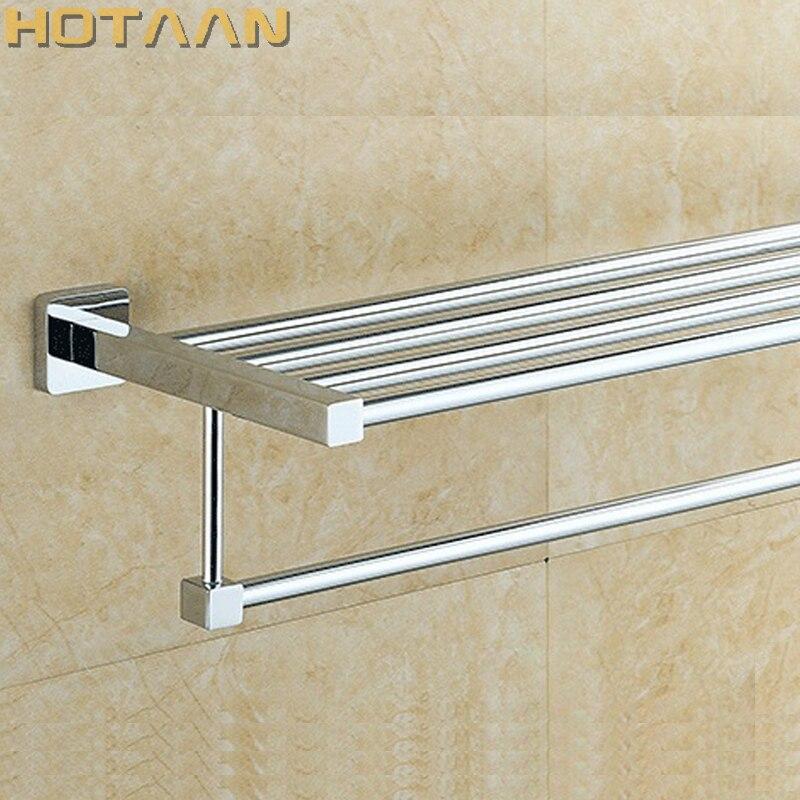 حار بيع ، شحن مجاني ، حامل منشفة الحمام ، موضة منشفة مربعة الشكل رف ، 60 سنتيمتر شماعة فوط فولاذية رف YT-4016