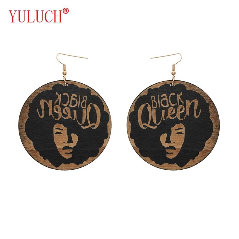 YULUCH 1 par de pendientes de fiesta para regalo de cirl negro con mosca y Reina negra de madera africana para mujer tallada en joyería vintage