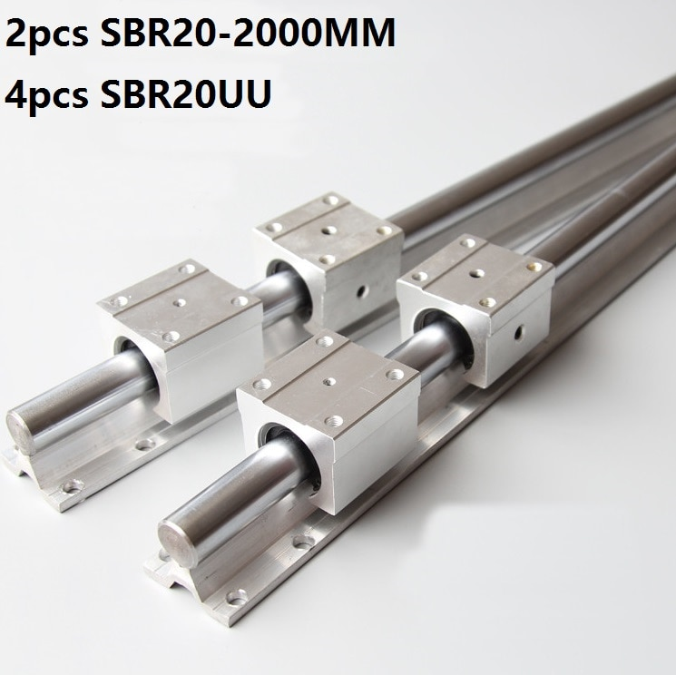 2 قطعة SBR20 20 مللي متر 2000 مللي متر دعم دليل خطي السكك الحديدية + 4 قطعة SBR20UU الخطي تحمل انزلاق كتل CNC راوتر أجزاء