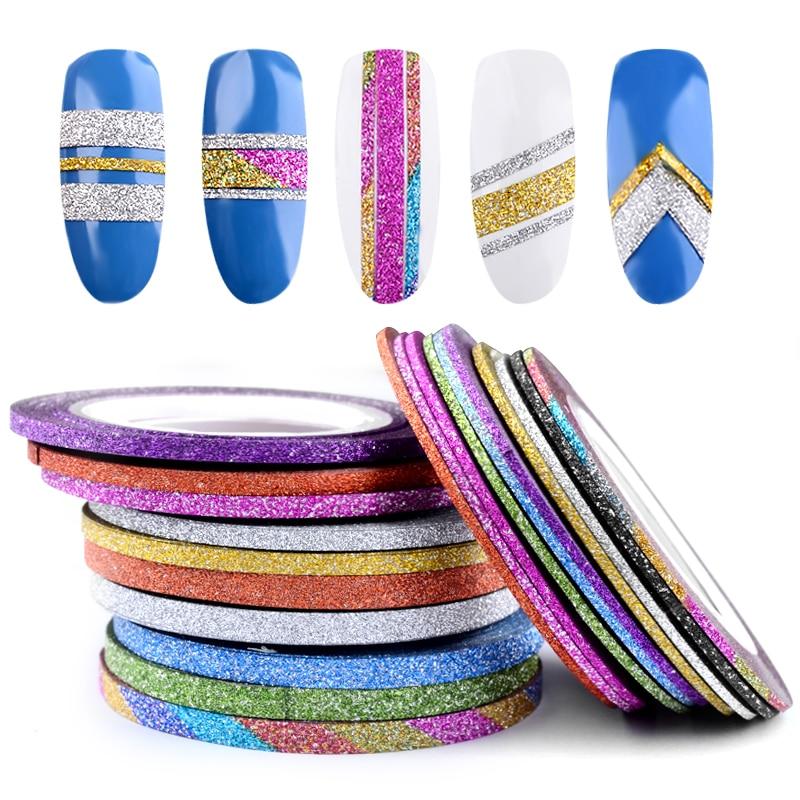 10 Rolls Mix Colors Nail Art Striping Glitter Tape Line Self-Adhesive Stickers For UV Gel Polish 3d Nail Art Decorations Tools
