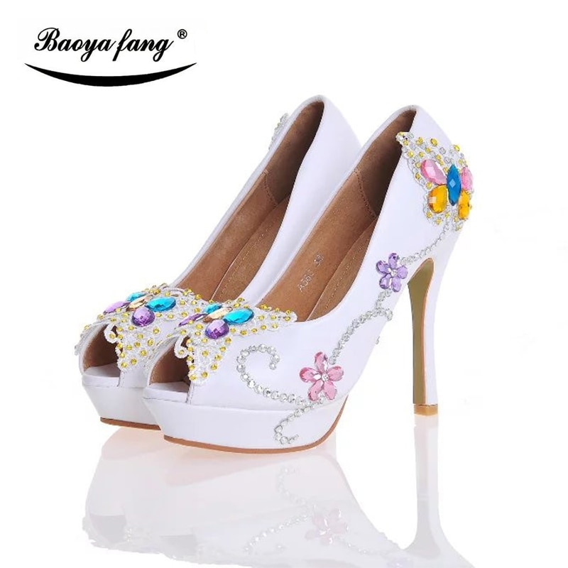 white/black 12cm Women Wedding shoes High heels platform shoes 2017 Female shoes Peep Toe leather insole round Fish Toe shoes