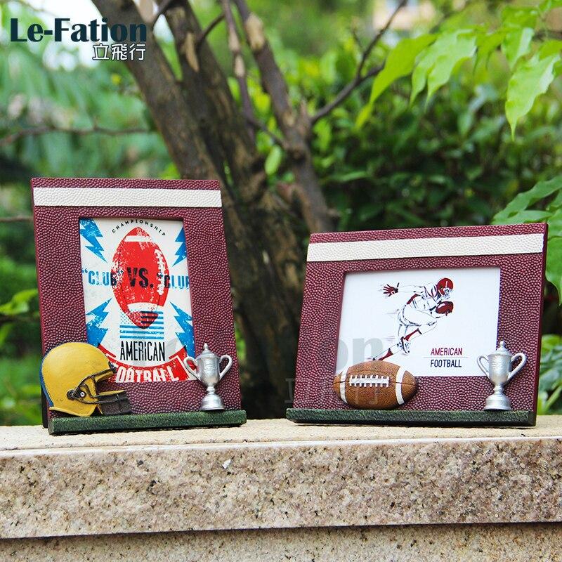 Спортивная фоторамка для регби, футбола, американского футбола, художественное ремесло из смолы, украшение на заказ, сувенир, подарок на ден...